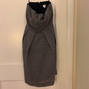 J.Crew - Navy Searsucker Polka Dot Strapless Dress